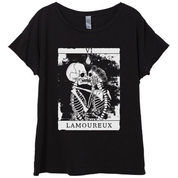 New Womens Boho Vintage Skeleton Lovers Tarot Card Shirt Tee Tumblr... ($25) ❤ liked on Polyvore featuring tops, t-shirts, black, women's clothing, vintage tee-shirt, short sleeve shirts, vintage tees, short sleeve t shirts and short-sleeve shirt