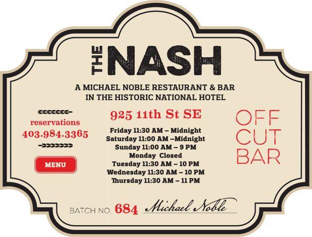 The Nash Restaurant & Bar | Calgary, AB