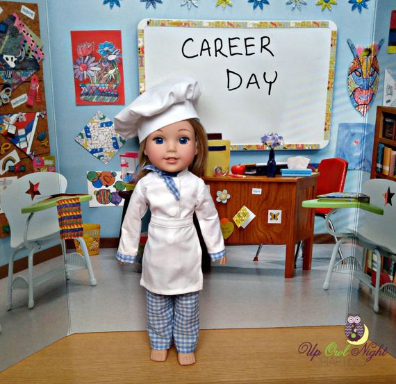 Chef costume for WellieWishers Dolls by upowlnightcrafting on Etsy. Made from the Chef Uniform for 14 to 14.5 Inch Dolls Pattern. Find it at https://www.pixiefaire.com/products/chef-uniform-for-14-to-14-5-inch-dolls. #pixiefaire #chefuniformfor14to145inchdolls