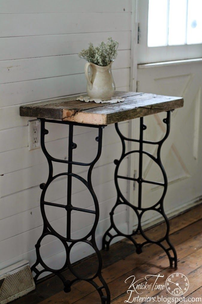 Antique Sewing Machine Table Legs into Rustic Side Table via Knick of Time @ http://knickoftimeinteriors.blogspot.com/