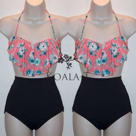 Coral Floral Print Flounce Top & Black High Waist Bikini! LIMITED EDITION!