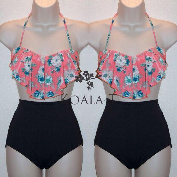 Coral Floral Print Flounce Top Black High Waist Bikini!