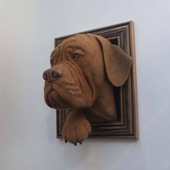 Nadel gefilzt 3d Portrait - Dogge de Bordeaux (französische Dogge)