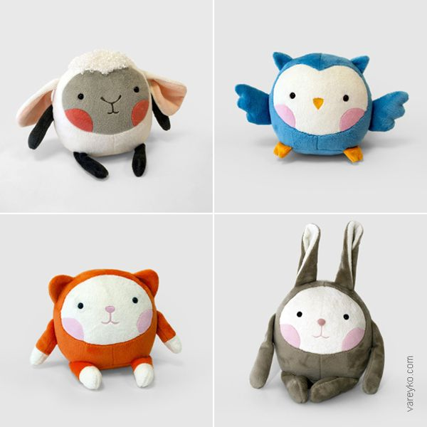 Plush toys Aki by Tamara Vareyko, via Behance