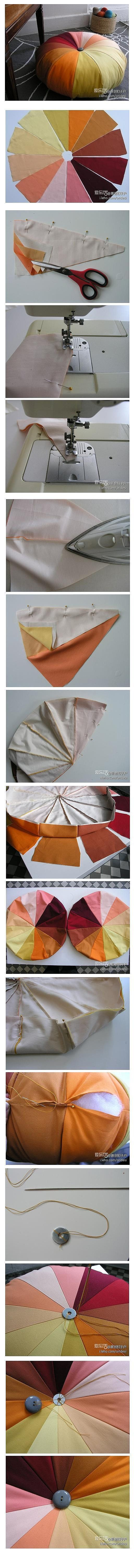 DIY Pumpkin Cushion    (would look cool made out of jeans scraps, or material from a couple of dollar store table cloths or...)