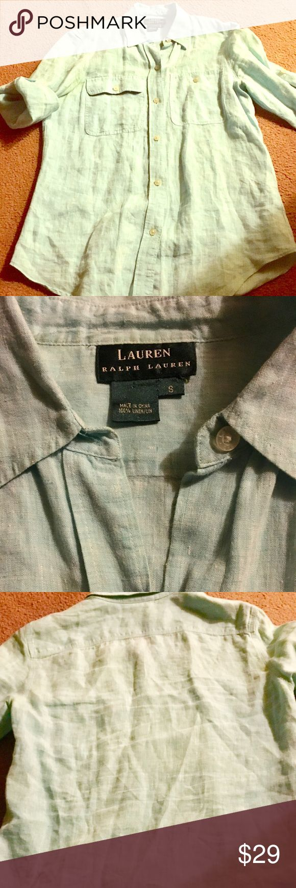 GUC POLO BUTTON DOWN LINNEN TOP SIZE SMALL POLO LINEN PISTACHIO COLOR BUTTON DOWN TOP. Size small. 3/4 sleeves with folding sleeves with a strap as seen in pics. This SEPARATE TOP HAS A MATCHING SEPARATE MATCHING  BOTTOM. Also listed in my closet for sale super comfortable and cool. Use fir the beach or anywhere, it could have many looks take s look 👀. Bundle for savings. Listing this top at lowest priced to sell. Normal listings would be $46. Have one in peace also identical Polo by Ralph…