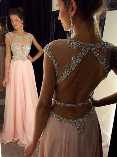 A-line Open Back Light Pink Chiffon Prom Dresses with Beaded Bodice Illusion Neck