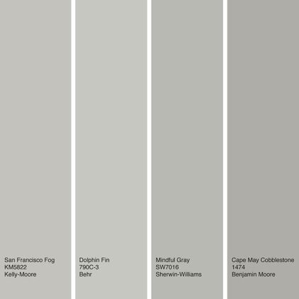 A sampling of warm gray paint colors. From left to right: San Francisco Fog from Kelly-Moore, Dolphin Fin from Behr, Mindful Gray from Sherwin-Williams and Cape May Cobblestone from Benjamin Moore.