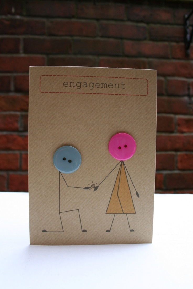 Engagement card made with buttons and brown Kraft by buttonbaps