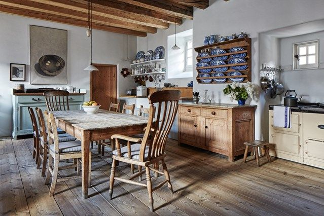 Wooden Country Kitchen - Seasoned restorers took on the challenge of rescuing Lamb's House in Leith - kitchen design on HOUSE by House & Garden.