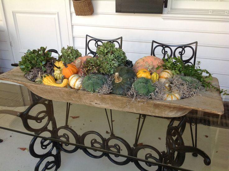 Dough Bowl Decorating Ideas Fall Arrangement In Antique Dough Bowl  Fall And Halloween