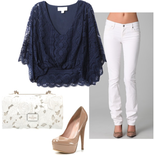 : Colors Combos, White Skinny, Lace Tops, Shirts, Outfit, Navy Lace, White Pants, Nude Heels, White Jeans