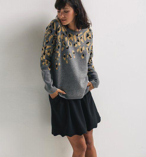 Maglione stampa leopardo grigio stampato - Promod