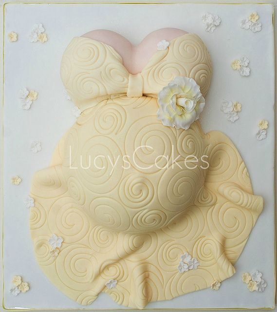 yellow pregnant belly baby shower cake ~ lovely!