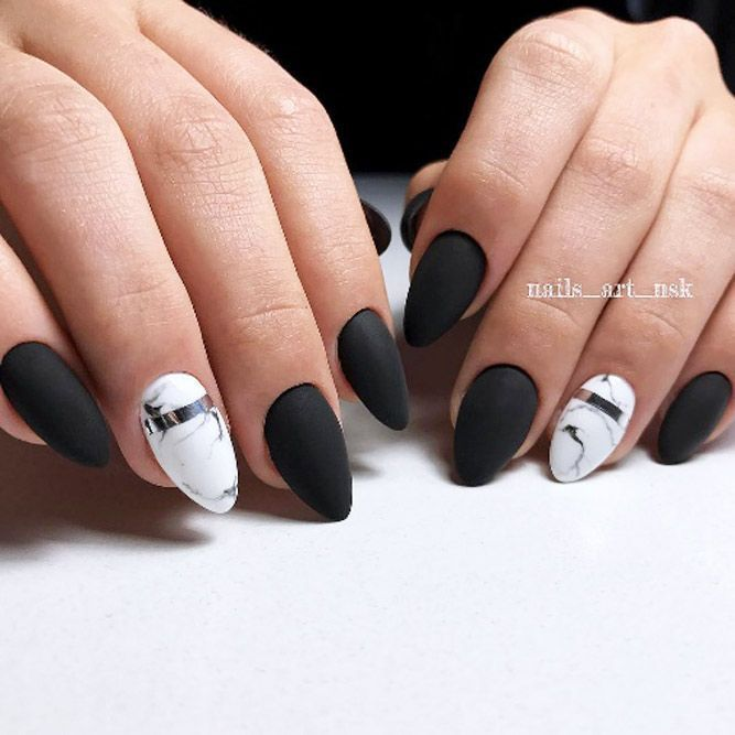 39 Breathtaking Designs For Almond Nails To Refresh Your Look Matte Nails Design Trendy Nails Black Nail Designs