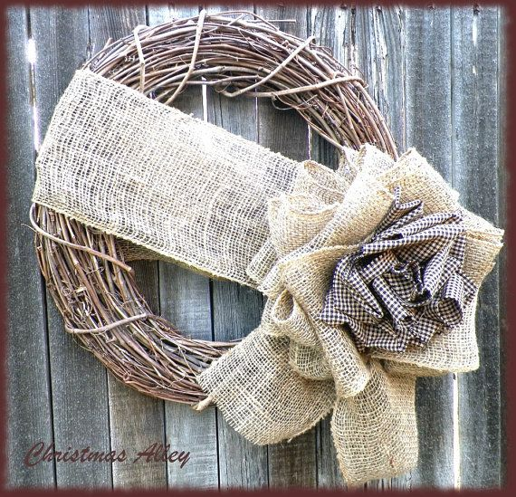 250 best craft burlap wreaths images on pinterest for Burlap wreath with lights