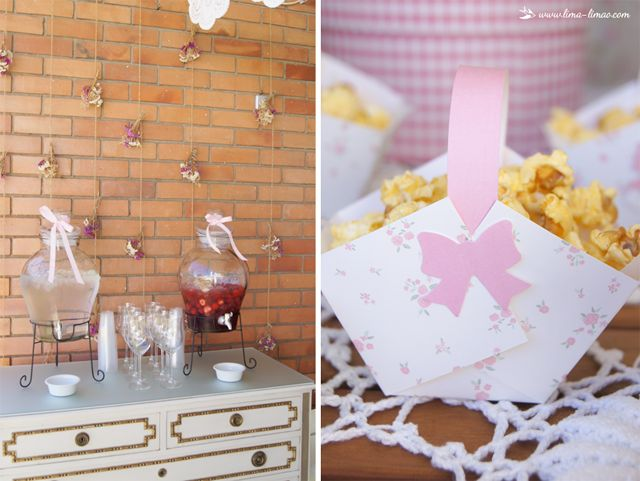 drink station and popcorn for this little flowers themed party