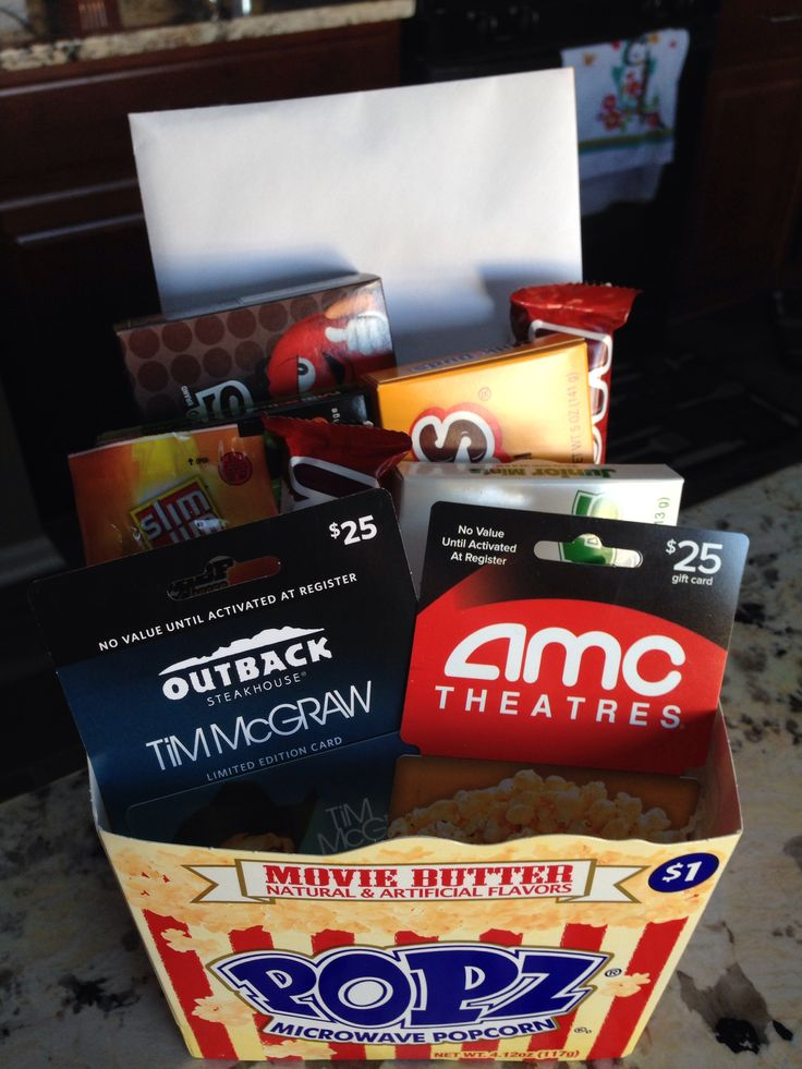 "The perfect gift for your movie-lover! ""Dinner and a Movie"" gift basket."