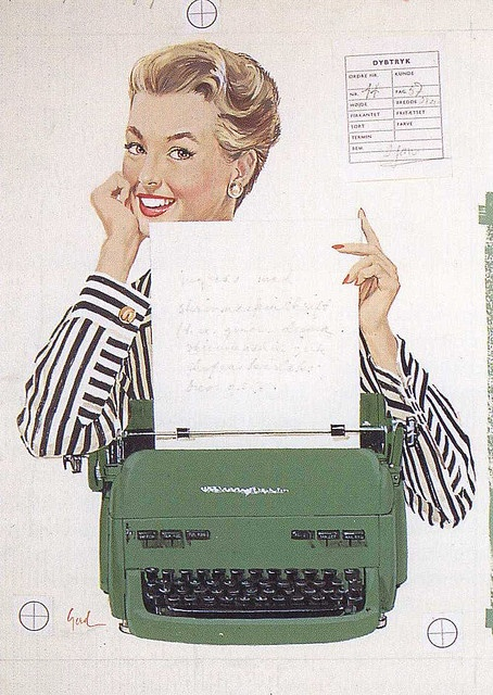 A lovely 1950s illustrated typewriter ad. Brought to you by Shoplet.com - everything for your business.