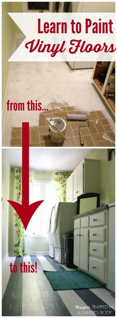 THIS IS AN AWESOME IDEA! Learn how to paint kitchen, bathroom and laundry room vinyl floors with this full tutorial.