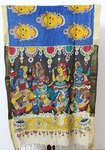 Blue Pen Kalamkari Dupatta – Desically Ethnic