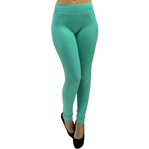 Mint Green Classic Stretchy Leggings ($18) ❤ liked on Polyvore featuring pants, leggings, footless tights, green, leg wear, green pants, green trousers, stretch pants, mint leggings and green leggings