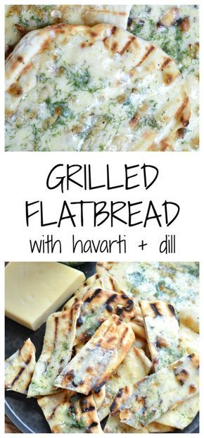 Grilled flatbread with havarti cheese and fresh dill (recipe from JessicaNWood.com)