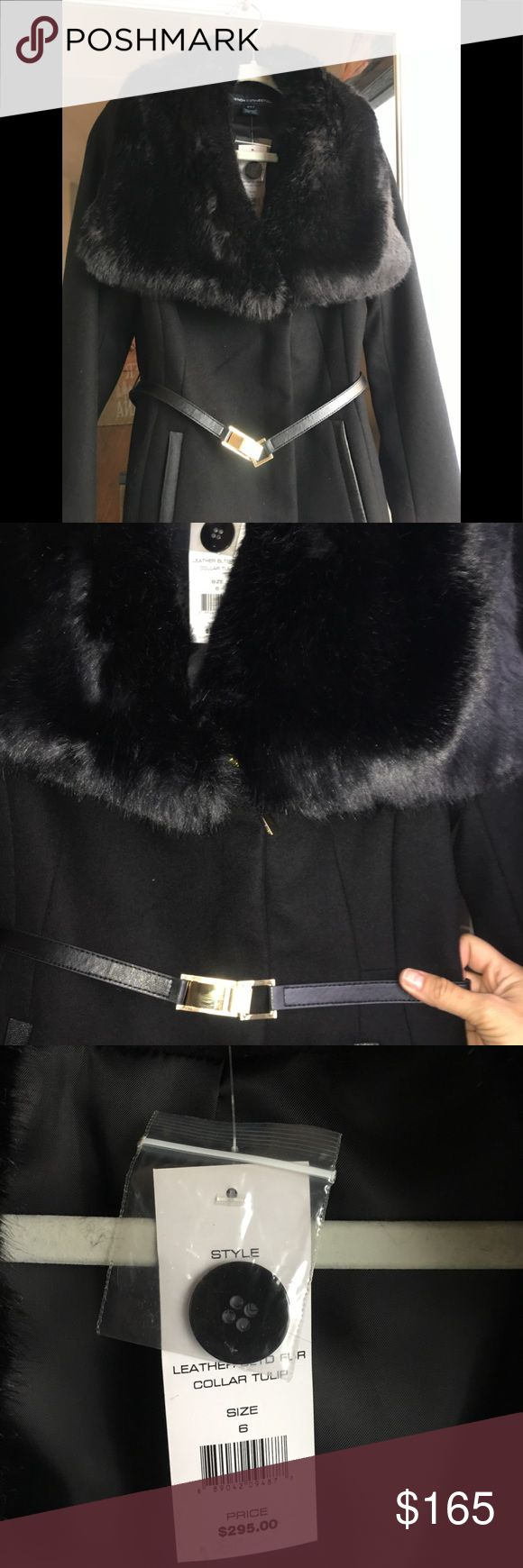 🔥NWT French Connection Coat w/ Faux Fur Collar NWT French Connection wool winter coat with faux fur collar in black. Jacket has never been wore, still has tags. The pockets are lined with leather piping, has waist belt w gold lock. Zippers are gold on the arms and on the front. French Connection Jackets & Coats