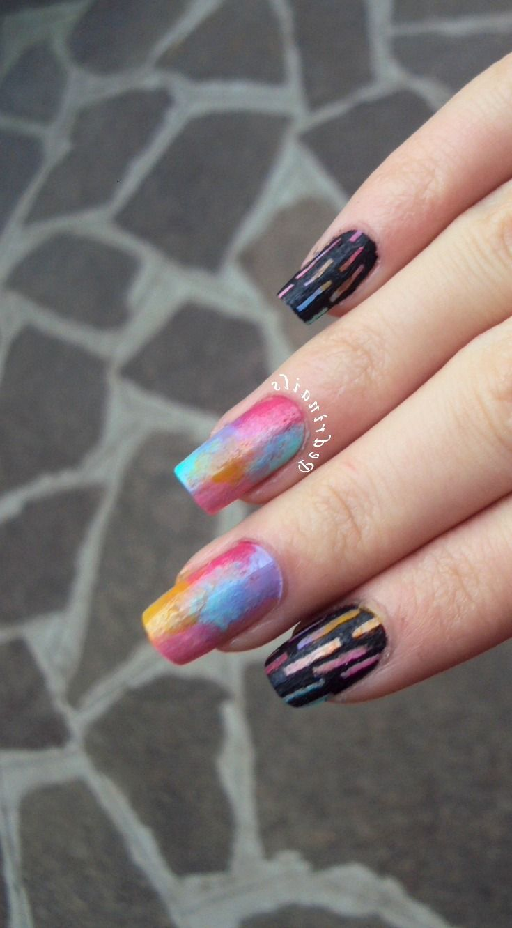Multi colored sponged pastels nails - skittlette manicure black and multicolors negative space stripes nail design made with nail polishes and acrylic paint http://pedrinails.blogspot.it/2014/12/11-smaltopedia-20-nail-art-ispirata.html