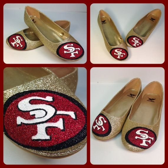 hand+painted+sf+49ers+inspired+Gold+glitter+flats+by+emilyireland,+$45.00