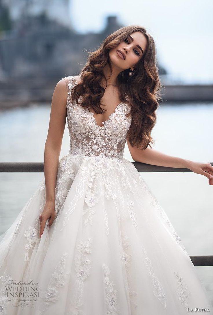 la petra 2019 bridal sleeveless v neck heavily embellished bodice ball gown a l…