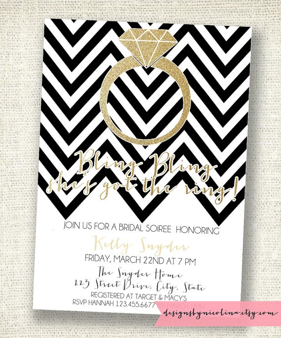 Chevron and Gold Glitter - Bling Bling - Bridal Shower - PRINTABLE Invitation