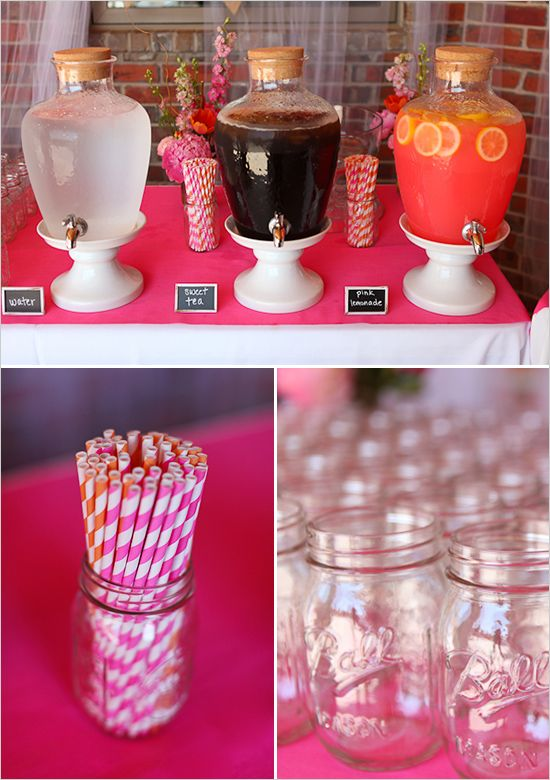 Pink and orange drink table - those beverage dispensers are the CUTEST. I love the giant corks!