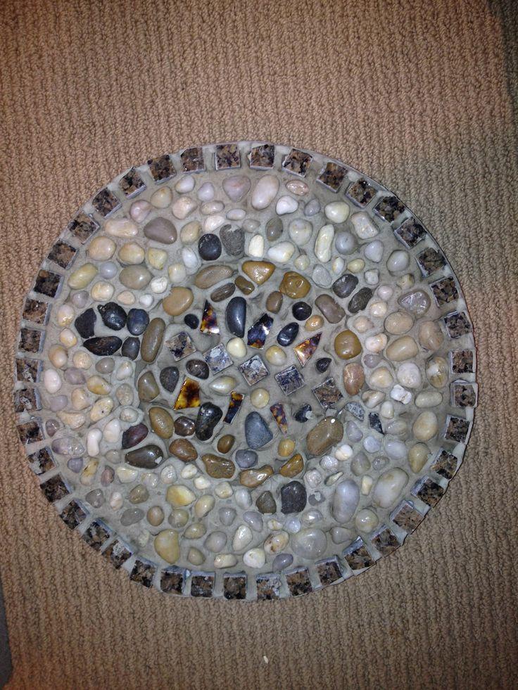 Pebble mosaic turtle stepping stone