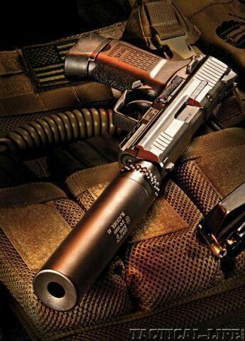 pistol with silencer.