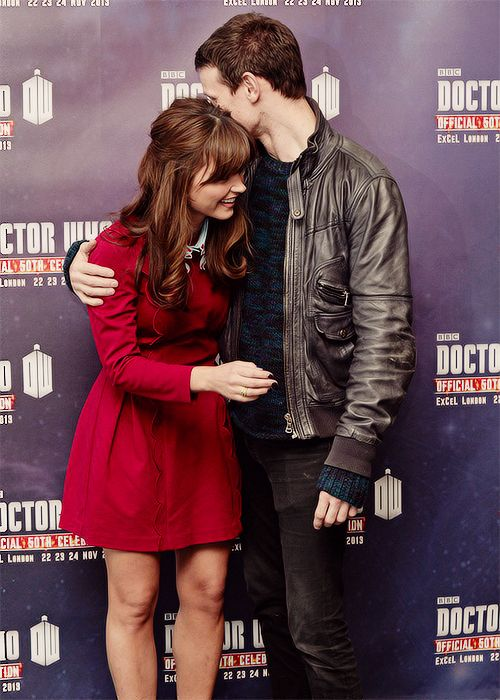Love Jenna's dresses!  Jenna Coleman and Matt Smith at the Fans Gather To Celebrate 50th Anniversary Of Doctor Who
