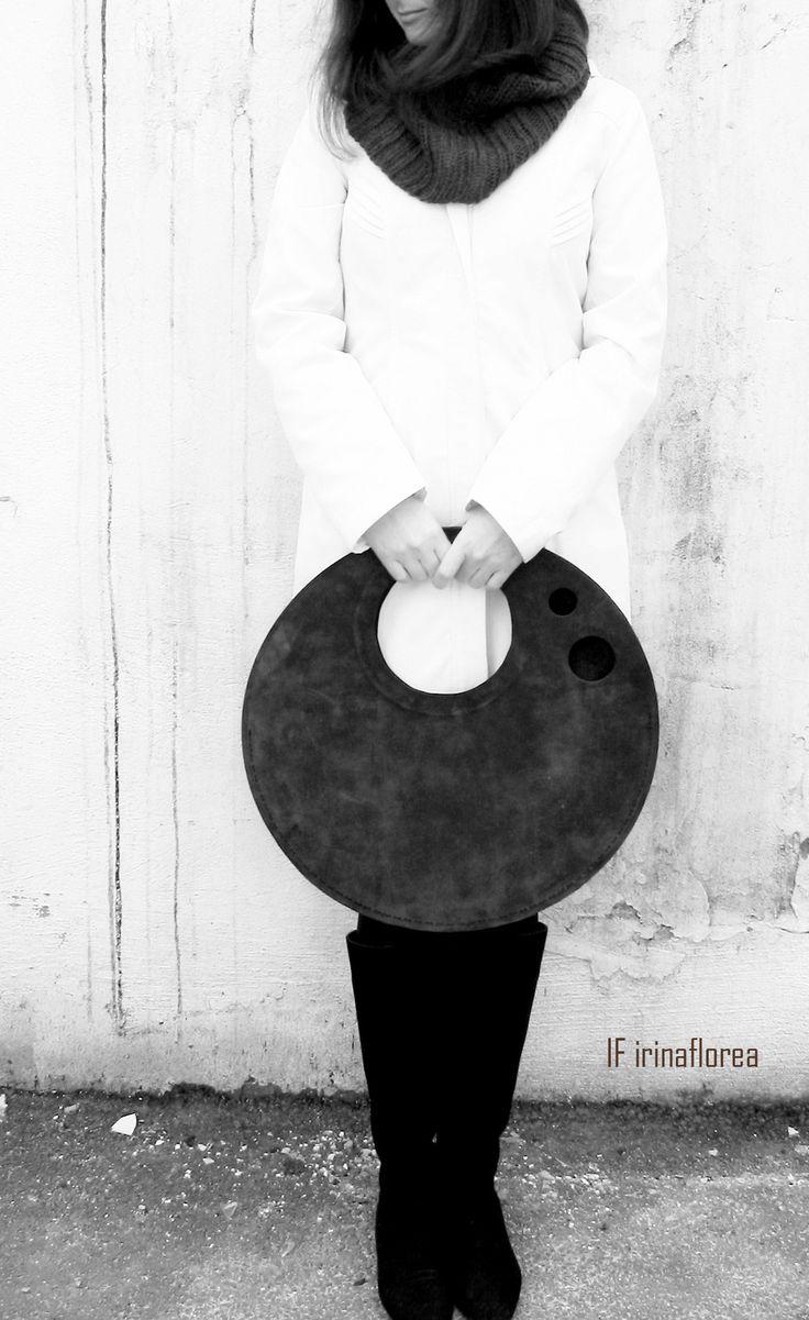minimalist round leather bag by IF irinaflorea  https://www.facebook.com/irinafloreadesign