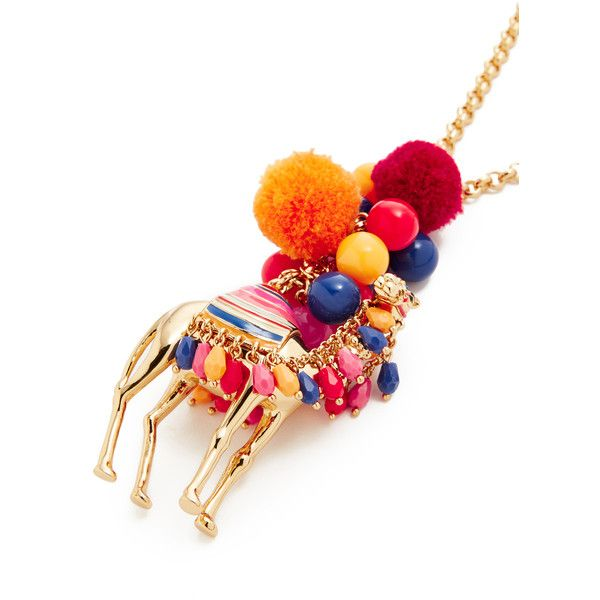Kate Spade New York Spice Things Up Camel Pendant Necklace ($160) ❤ liked on Polyvore featuring jewelry, necklaces, kate spade necklace, lobster clasp necklace, pom pom jewelry, adjustable necklace and pom pom necklace