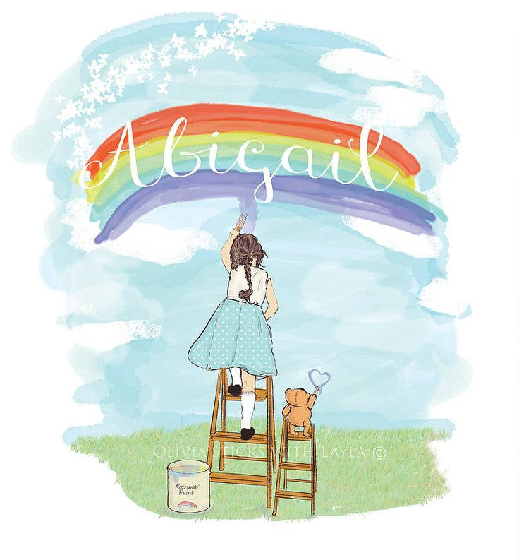 personalised girl's 'painting rainbows' print by olivia sticks with layla | notonthehighstreet.com