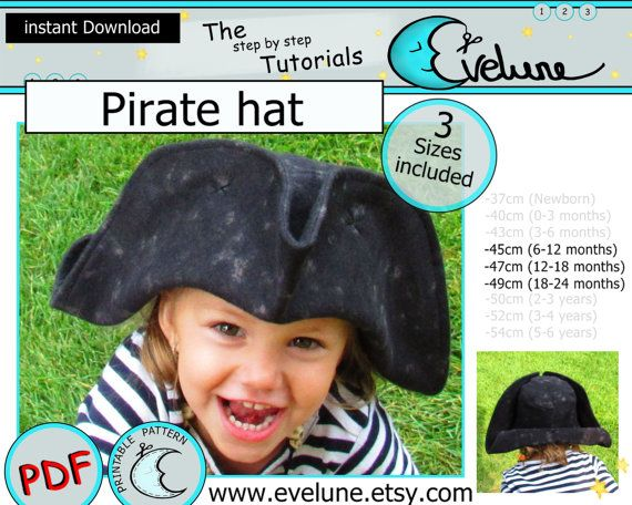 Pirate hat PDF pattern , English , 3 sizes included , tricorn hat , pirate costume , halloween pirate costume , jack and neverland pirates
