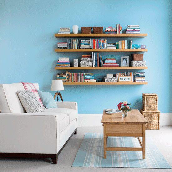 More floating shelves: Blue Rooms, Bookshelves, Floating Shelves, Idea, Living Rooms Storage, Living Rooms Design, Color, Blue Wall, Wall Shelves