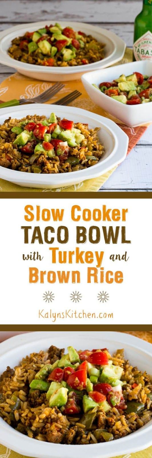This gluten-free and dairy-free Slow Cooker Taco Bowl with Turkey and Brown Rice is perfect for an easy taco meal any time of year. For a lower-carb version, double the amount of turkey and it will still be delicious! [KalynsKitchen.com] #SlowCooker #SlowCookerTurkey #SlowCookerTacoBowl