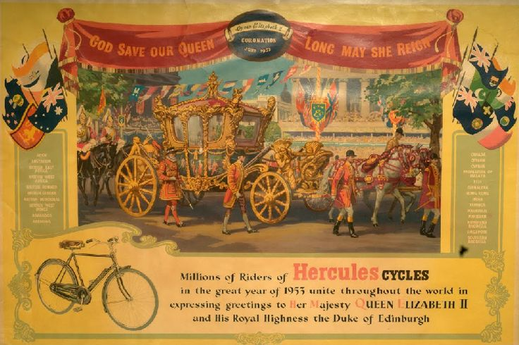 Advertisement poster of Hercules Cycle, depicts a decorated horse carriage with attendants, along with a picture of cycle. :) #Advertisement #poster #Hercules #horsecarriage #cycle #travel #tour #heritage #transport #museum #manesar #htm #explore