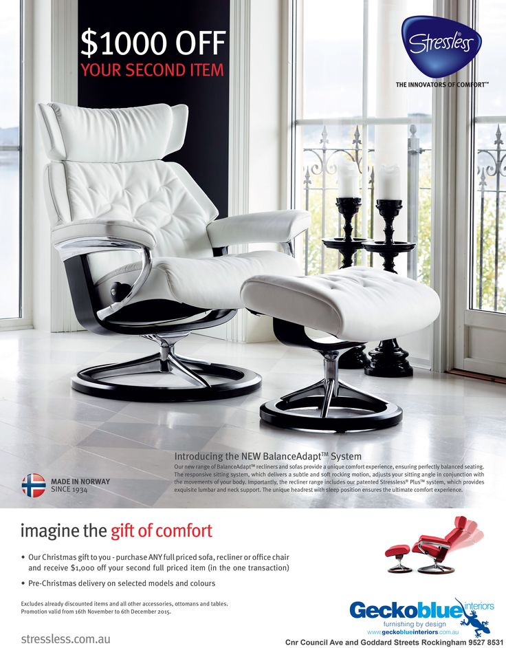 Our Christmas gift to you - purchase ANY full priced sofa, recliner or office chair and receive $1,000 off your second full priced item (in one transaction).  View http://geckoblueinteriors.com.au/stressless-furniture/ for more info or visit our store now.
