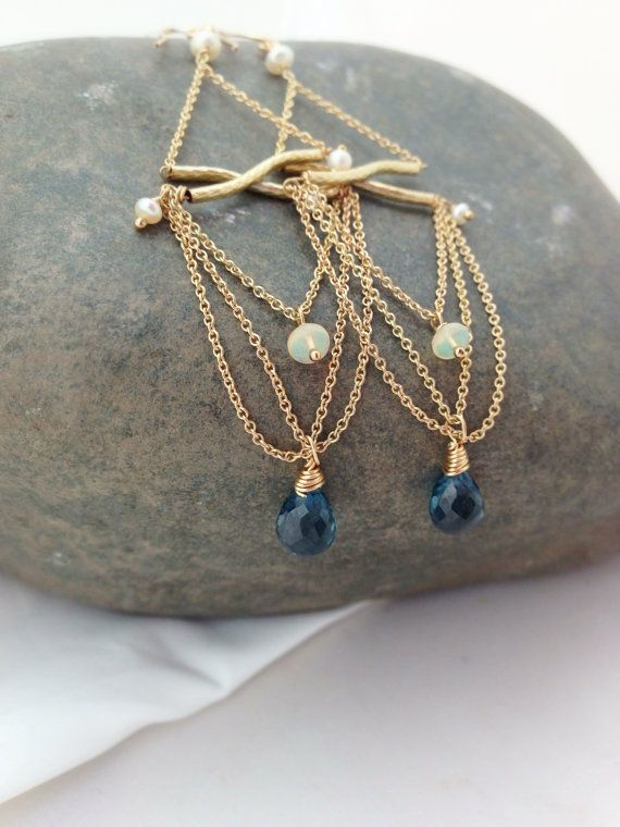 London Blue Topaz with Ethiopian Fire Opal and chain gold chandelier earrings