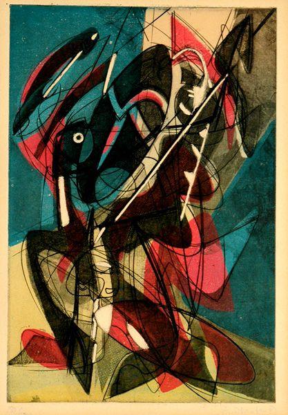Stanley William Hayter: Combat (Black/Moorhead 210). Original color etching and aquatint, 1953