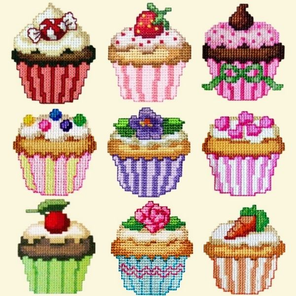 Free Cupcake Cross Stitch Patterns | Golden Needle Designs