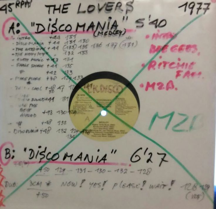 "Hooray ! Over 3500 songs,clips & music related items. In a way my herritage to music I so dearly love. I started out as a DJ in 1977 ,when Disco was actually hardly played in dancings.Here is one of my 12"" vinyls with notes on how I play it now ( to make it danceable to todays standards ) It's a system I developed over the years and I've done this for over 5000 of my records.On the mid left are the pitches & BPM's for the complete song. + or - for the oitch , # Means a break. Enjoy !"