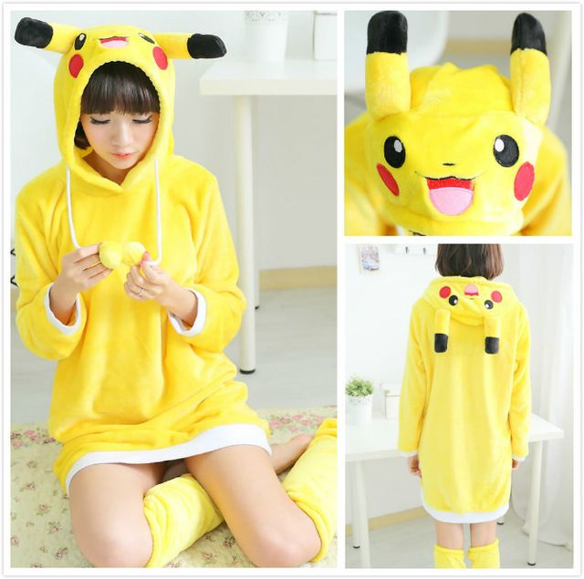 Anime Pokemon Pikachu Yellow Warm Winter Spring Hooded Robes Onesie Jumpsuit Cosplay Winter Costumes Bathrobes Women Lingerie