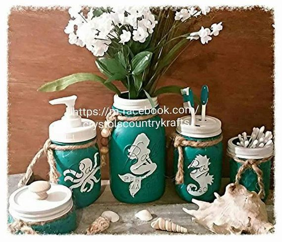 Beach Nautical Bathroom, Turquoise Blue Bathroom, Octopus , Sea Horse,  Sailboat, Dolphin, Soap Pump, Vase, Toothbrush Holder, Candle Jar